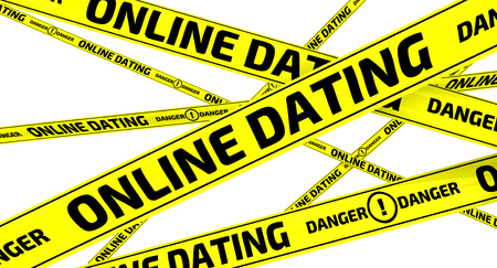 relaciones humanas: Online dating. Danger. Yellow warning tapes