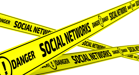 relaciones humanas: Social networks. Danger. Yellow warning tapes
