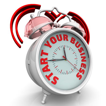 Start your business. The alarm clock with an inscription
