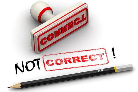 Not correct! Corrected seal impression Banco de Imagens