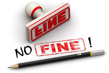 negation: No fine! Corrected seal impression Stock Photo