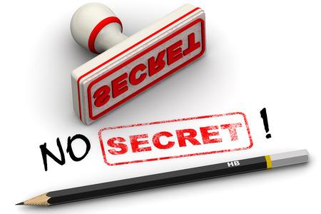 negation: No secret! Corrected seal impression Stock Photo