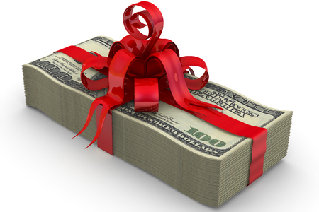 Money as a gift. A stack of one hundred dollar bills tied with a red ribbon and bow Stock Photo
