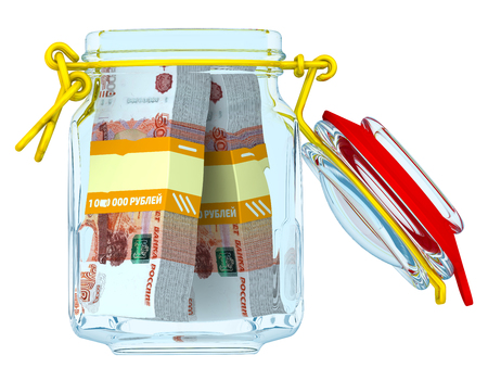 Open glass Jar for canning with bundles of 5,000 Russian rubles banknotes on a white surface. Financial concept. Isolated. 3D Illustration