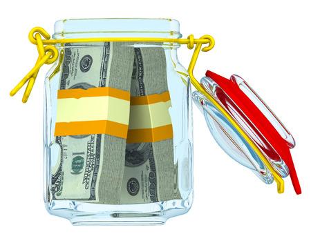 Glass jar with bundles of US dollars Stock Photo
