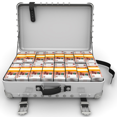A suitcase filled with bundles of Russian rubles. Isolated. 3D Illustration Stock Photo