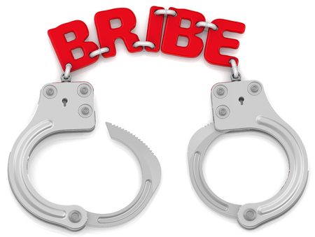 handcuffs: Punishment for receiving or giving bribes Stock Photo