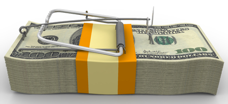 Mousetrap from wads of American dollars without bait on white background Stock Photo