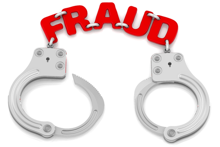 Fraud. Steel handcuffs with red word FRAUD