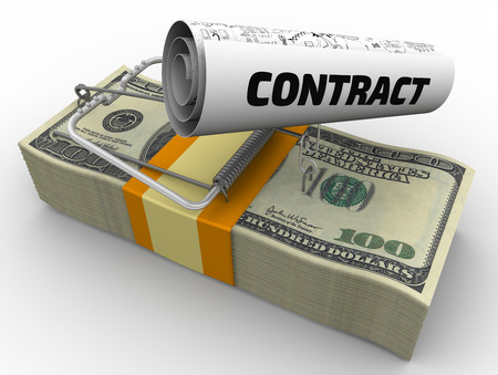 annihilate: Dangerous contract. Mousetrap from pack of American dollars with bait in form of sheet with text CONTRACT Stock Photo