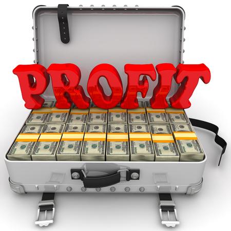 Profit. Suitcase full of money