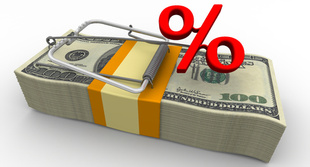 Dangerous interest rate. Financial risk Stock Photo