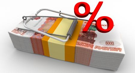 Dangerous interest rate. Financial risk Stock Photo
