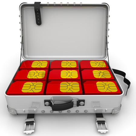 Suitcase with red SIM cards Stock Photo