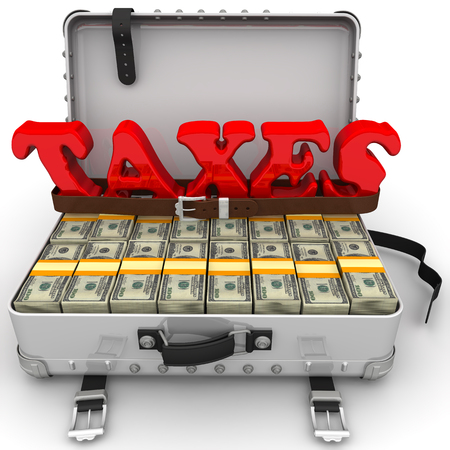 Red word TAXES is strapped by a belt and a suitcase filled with packs of US dollars. Isolated. 3D Illustration