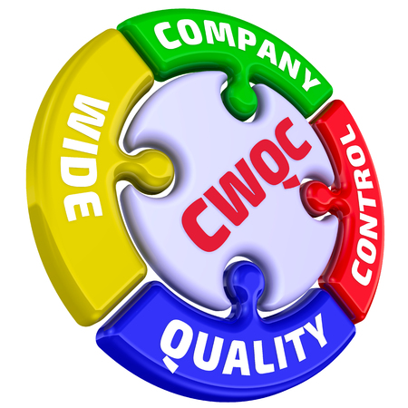 CWQC. Company Wide Quality Control. The mark in the form of a puzzle
