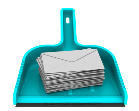 Envelopes with unwanted messages on the scoop Stock Photo