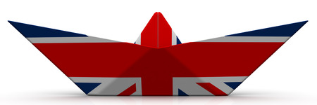 Paper boat from the flag of Great Britain on white surface. Isolated. 3D Illustration