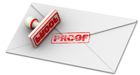 증명. 폐쇄 우편 봉투에 인감 및 인쇄