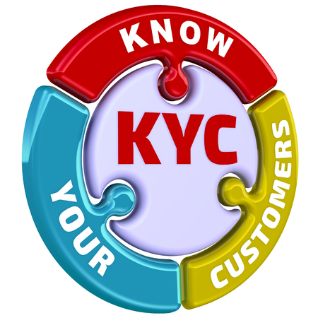 KYC Kennen Sie Ihre Kunden. Die Marke in Form eines Puzzles Standard-Bild - 81073931