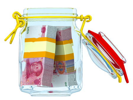 Opened glass Jar for canning with bundles of Chinese banknotes (yuan) on a white surface. Financial concept