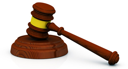 judicial proceeding: Wooden judge gavel on white surface. Isolated. 3D Illustration Stock Photo