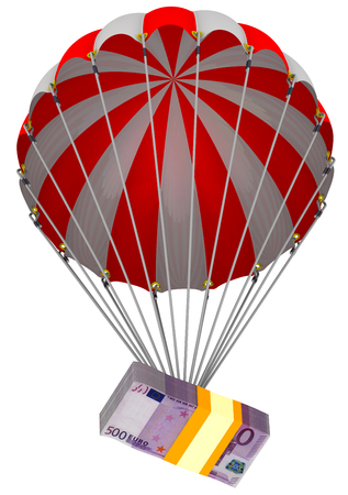 A pack of European banknotes on a parachute Stock Photo