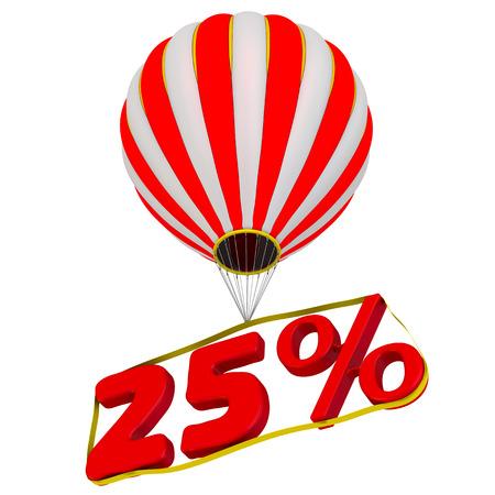 Twenty-five percent flies in a hot air balloon