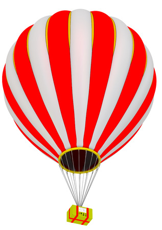 The yellow parcel box in the hot air balloon. Stock Photo