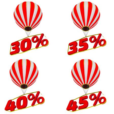Set of 30; 35; 40; 45 percentage flies on a hot air balloon