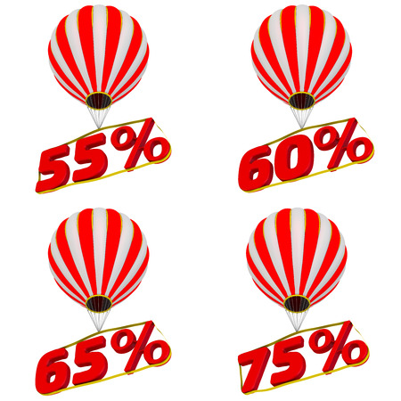 Set of 55,60,65 and 75 percentage flies on a hot air balloon. Isolated on a white background. 3D Illustration