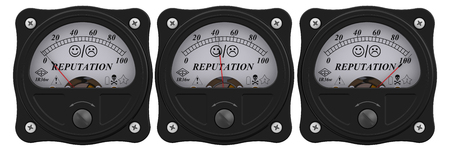 Indicator of reputation. Analog indicator showing the level of reputation. 3D Illustration. Isolated