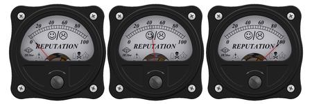 Indicator of reputation. Analog indicator showing the level of reputation. 3D Illustration. Isolated