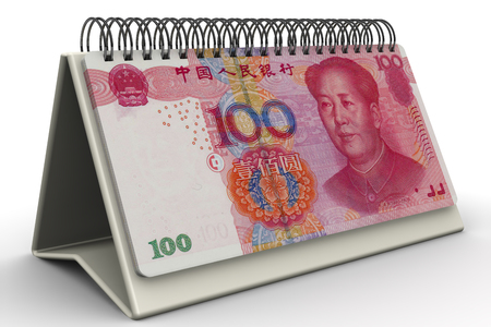 Time is money. Desktop calendar with sheets made from Chinese banknotes (yuan) on the white surface