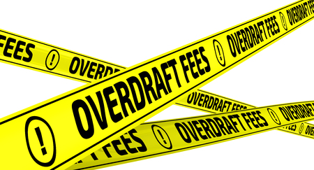 Overdraft fees. Yellow warning tapes 스톡 콘텐츠
