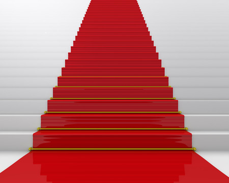 The red carpet for ceremony. Stairs with a red carpet Stock Photo