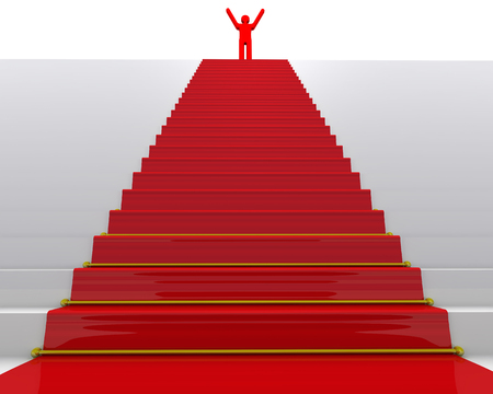 The goal is achieved. Red symbol of man on top of stairs with a red carpet