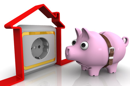 The concept of high electricity costs. Tightened with a strap pig piggy bank with bulging eyes looks to the symbol of the house with the electric socket. 3D Illustration