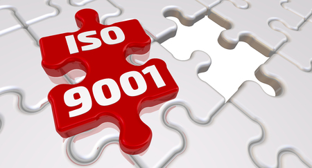ISO 9001. The inscription on the missing element of the puzzle. Folded white puzzles elements and one red with text: ISO 9001. 3D Illustration Stock Photo