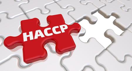 HACCP. De inscriptie op het ontbrekende element van de puzzel. Gevouwen witte puzzelelementen en één rood met tekst: HACCP (Hazard analysis and critical control points of HACCP is een systematische preventieve benadering van voedselveiligheid tegen biologische, chemische en fysische gevaren in de productieprocessen). 3D-afbeelding