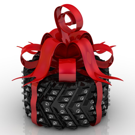 Studded tire as a gift. Studded tire tied with a red ribbon and bow. Isolated. 3D Illustration