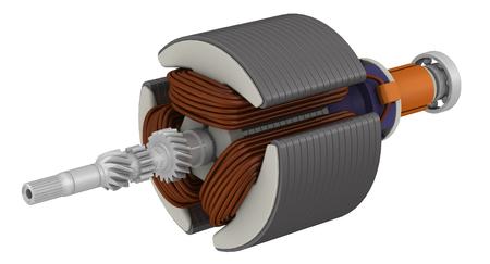 Rotore del motore elettrico. Il rotore del motore elettrico isolato su superficie bianca. Illustrazione 3D. Isolato
