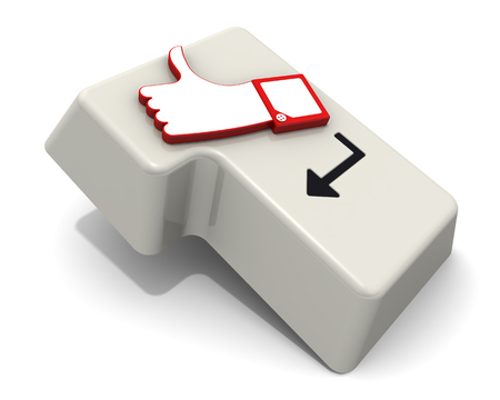 Positive feedback. White keypad button (ENTER) with thumb up sign on white surface. 3D Illustration