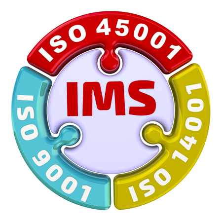 IMS. ISO Integrated Management System. The check mark in the form of a puzzle 免版税图像