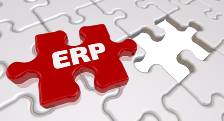 ERP. The inscription on the missing element of the puzzle. ERP - Enterprise Resource Planning. Folded white puzzles elements. 3D Illustration