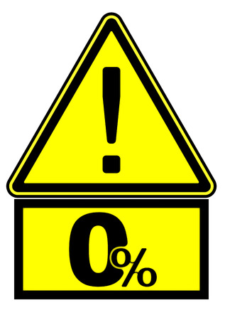 Zero percent. A warning sign. Road sign with a zero percent symbol and the exclamation mark. 3D Illustration