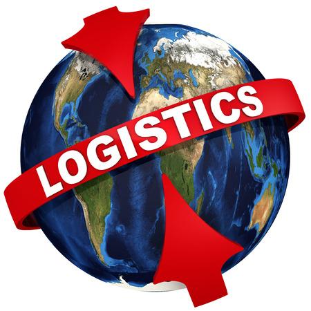 Red arrows emphasize the inscription LOGISTICS on the background of the globe. Reklamní fotografie