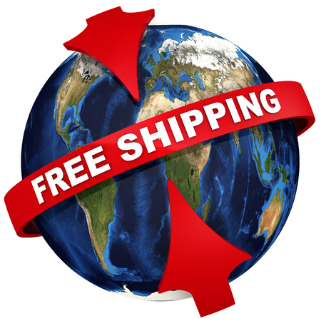Red arrows emphasize the inscription FREE SHIPPING on the background of the globe. 3D Illustration
