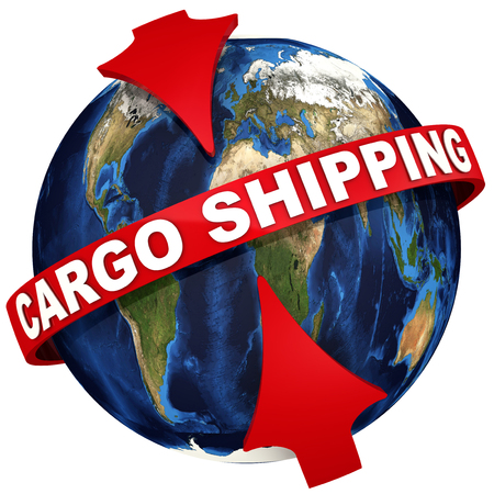 Worldwide cargo shipping. Red arrows emphasize the inscription CARGO SHIPPING on the background of the globe. 3D Illustration