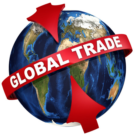 Global trade. Red arrows emphasize the inscription GLOBAL TRADE on the background of the globe. 3D Illustration Stock Photo